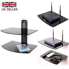 1-2 Tier Floating Shelf Black Glass TV Wall Mount Bracket DVD Player Sky Box