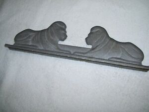 Old Vintage Cast Aluminum Metal Gate Fence Topper Finial Pair of Lions