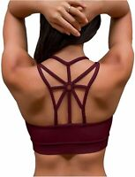 YIANNA Sports Bras for Women Cross Back Padded Sports Bra, Red, Size XX-Large Uh