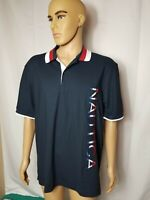 Nautica Spellout Polo Shirt Red White And Blue Mens New NWT Size XL S/S