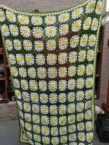 Vtg Handmade Afghan Knit Crochet Blanket 62x44 Granny Square GREEN YELLOW Flower