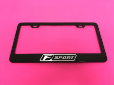 F SPORT BLACK Powder Coated Metal License Plate Frame Tag Holder w/Screw caps