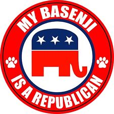 "My Basenji Is A Republican 5"" Dog Political Sticker"