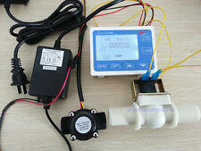 "NEW 1/2"" Water Flow Control LCD Meter + Flow Sensor Solenoid valve Power Adapter"