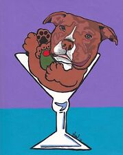 Red PIT BULL Martini 8x10 Signed Dog Pop Art Print of Original Painting by VERN