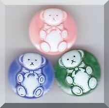 CZECH GLASS BUTTONS - Teddy Bears White Blue Pink Green