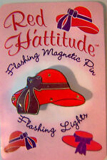 ATTENTION RED HAT LADIES: REALLY CUTE FIVE FLASHING RED HAT BROOCHES/PINS
