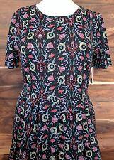NWT LulaRoe Black Yellow Purple Floral Amelia Pocket Dress 3XL XXXL 276