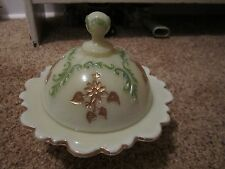 Beautiful Northwood Intaglio Custard Round Butter Dish Flower Pattern!!!