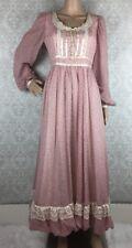 Gunne Sax Vintage Prairie Dress S M Maxi Floral Crochet