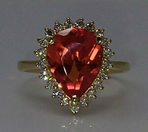 14K Yellow Gold 5.90ct Red Spinel & Natural Diamond Ring.Sz_Q--US _8.