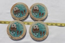 Sea Lion/Seal Natural Solid Sandstone Coasters /Cork Backing (set of 4)