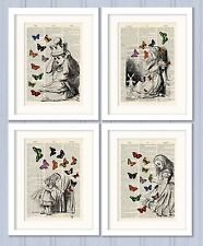 Antique Book page Art Print Set of 4- Alice in Wonderland Dictionary Page Print
