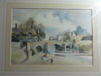 Original old Watercolour Landscape painting of The Old Milk House A D Houghton