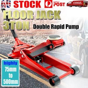 3 Ton Low Profile Trolley Jack Hydraulic Floor Car Lifter Dual Pump 75-500MM AU