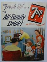 """16"""" Antique Vintage 1950s 7UP All Family Drink Pop Soda Graphic Advertising Sign"""