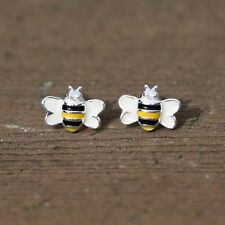 Tiny Silver Bee Studs Enameled Sterling Silver 925 , Small Earrings