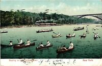 Vintage Postcard - 1909 Boats On The Harlem River Train Bridge New York NY #4268