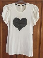 Next sequinned heart cream top (no size) armpit to armpit 50cms worn once