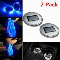 2X Solar Cup Pad Car Accessories LED Light Cover Interior Decoration Lights Q0D3