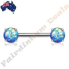 316L Surgical Steel Nipple Barbell with Prong Set Blue Glitter Opals Ends