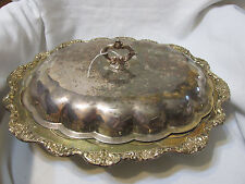 VINTAGE Standing Serving DISH SILVER PLATE COVERED LARGE OVAL Footed