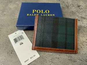 NEW Polo Ralph Lauren Heritage Faux Leather CARD CASE Blackwatch Wallet