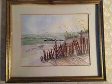 "Lovely Floss Jennings ""Beach -Get Well-Scene"" Watercolor Painting- Signed/Framed"