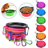 Portable Pet Dog Food Drink Collapsible Bowl Travel Camping Lightweight Plate