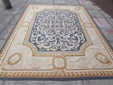 Old Hand Made French Design 10 x 8 Wool Blue Large Original Aubusson 313X240cm