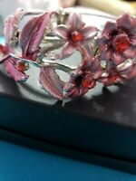 Women's Ladies Stainless Steel with nice Pink and Red flowers Bracelet