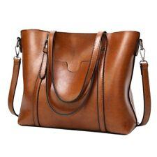 Women Oil Wax Leather Tote Messenger Handbag Large Handbag Soft Shoulder Bag