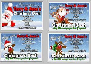 PERSONALISED XMAS / CHRISTMAS PARTY INVITES / INVITATION CARDS - SANTA ⭐⭐⭐⭐