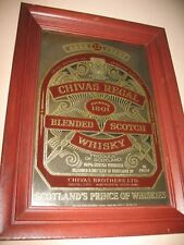 "Chivas Regal Blended Scotch Whisky Bar Wood Framed Mirror Vintage 23"" x 17"""