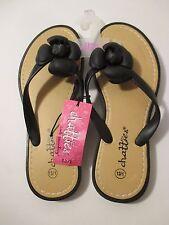 aa02bb1797f90 NWT Girls CHATTIES Size 13-1 Black Floral Flip Flops Sandals