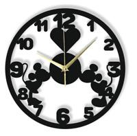 Wanduhr Mickey Mouse Liebe Silent Nicht-Ticking Schwarz Hellgrau Geschenk 117