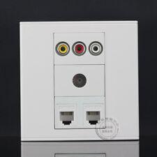 Wall Face Plate 3RCA AV + TV + Dual RJ11 TEL Socket  Assorted Panel Faceplate
