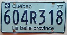 Quebec 1977 License Plate # 604R318