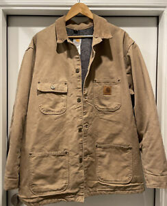 MENS Vintage Carhartt C02 SDL Sandstone Blanket Quilted Lined Jacket Sz: X Large