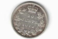 CANADA 1870 WIDE 0 TEN CENTS DIME QUEEN VICTORIA STERLING SILVER COIN CANADIAN