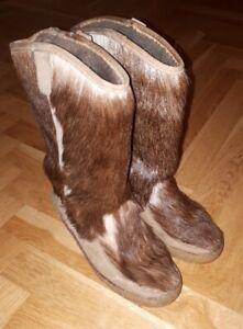 Yeti Stiefel UK 5 38 Winter Boots Echt Leder & Fell 70er Jahre True Vintage