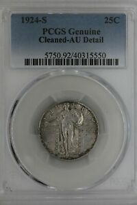 1924-S  .25  PCGS  GENUINE CLEANED-AU DETAIL  Standing Liberty Quarter