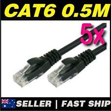 5 x 50cm 0.5m Black Cat 6 Cat6 1000Mbps Premium RJ45 Ethernet Network LAN Cable