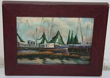 Miniature 7 x 5 Oil on Wood Painting Green Boat in Harbor