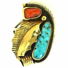 NAVAJO TURQUOISE & CORAL RING YELLOW GOLD STERLING SILVER SIGNED PICTO HALLMARK