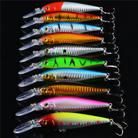 10pcs Minnow Fishing Lures Plastic Bait Wobbler Bass Crankbait Tackle 11CM/10.5g