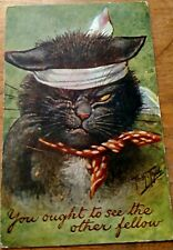 """Fine Signed Thiele 1909 Cat """"You Ought To See The Other Fellow"""""""