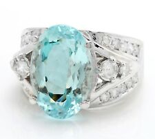 9.45 Carat Natural Blue Aquamarine and Diamonds in 14K Solid White Gold Ring