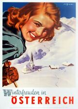 Vintage Ski Posters WINTER SPORTS IN AUSTRIA, 1950's, 250gsm A3 Travel Print