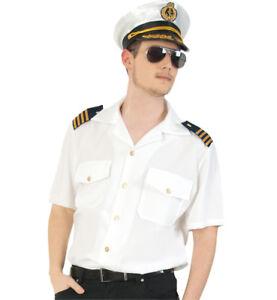 Herrenkostüm-Set Pilot 3-tlg. Hemd in weiß mit Mütze und Pilotenbrille 12986013F